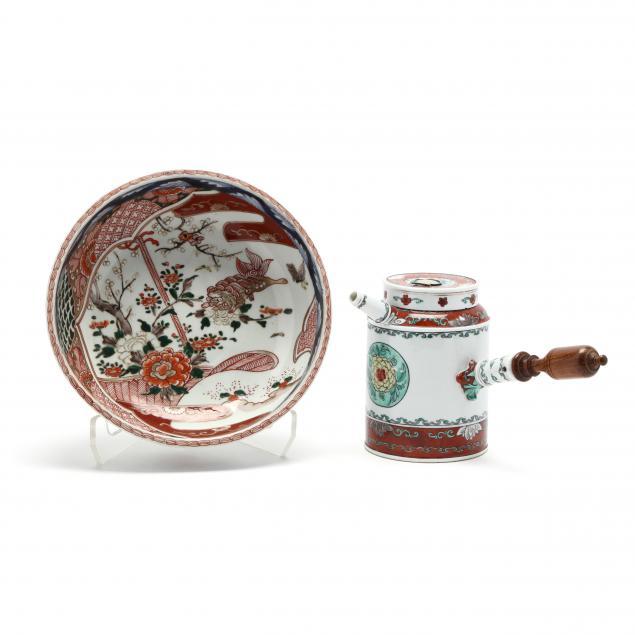 a-chinese-coffee-pot-and-japanese-imari-bowl