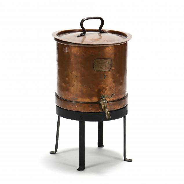antique-copper-hot-water-dispenser-on-stand