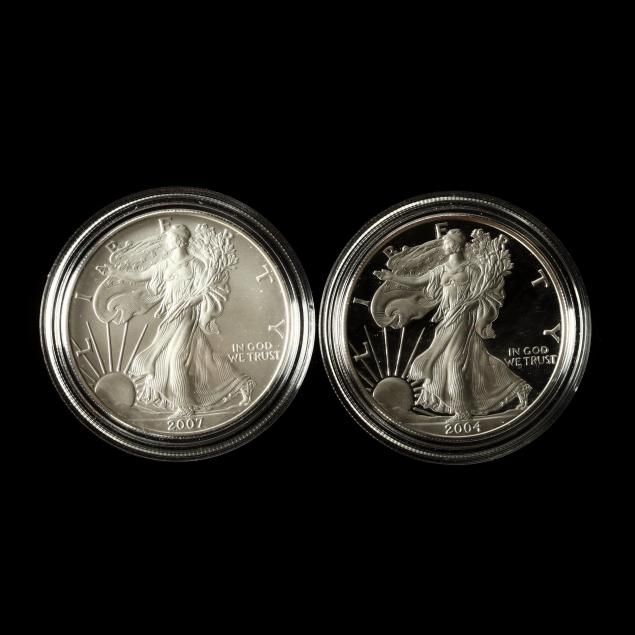 2004-uncirculated-silver-eagle-and-2007-proof-silver-eagle
