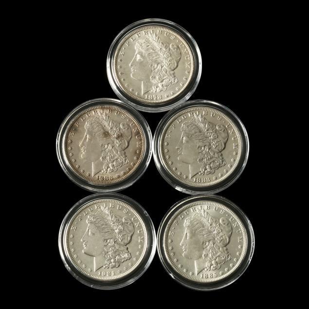five-morgan-silver-dollars-in-direct-fit-capsules