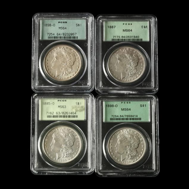 four-mint-sate-pcgs-graded-morgan-silver-dollars