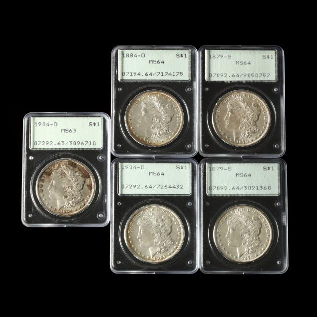 five-mint-state-morgan-silver-dollars-in-early-pcgs-rattlers