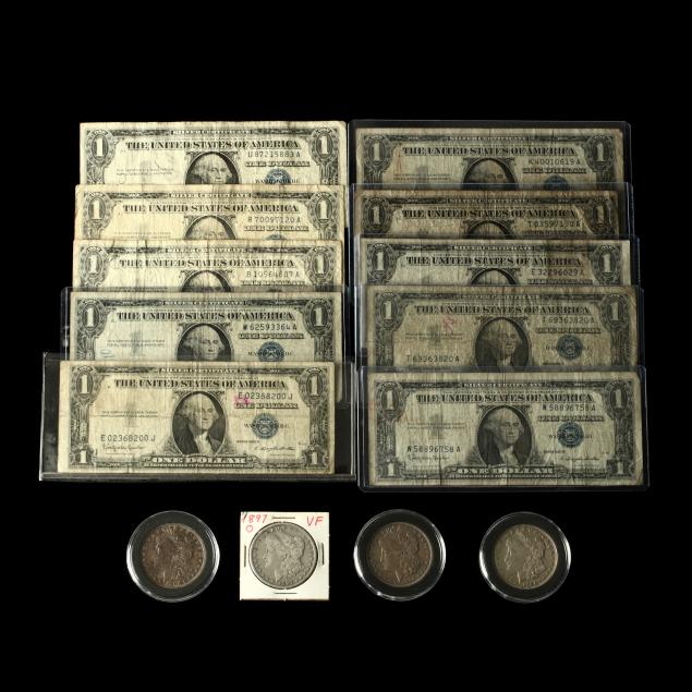 four-circulated-morgan-silver-dollars-and-ten-1-silver-certificates