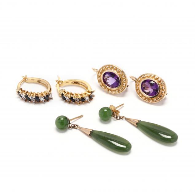 three-pairs-of-gem-set-earrings