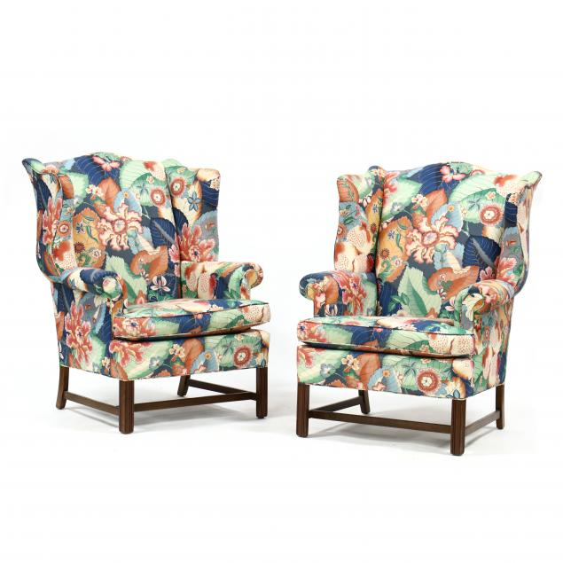 pair-of-chippendale-style-tobacco-leaf-upholstered-easy-chairs