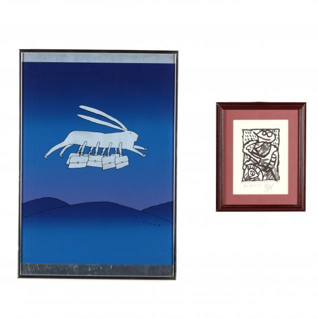 two-modernist-graphic-works-jean-michel-folon-and-after-karel-appel