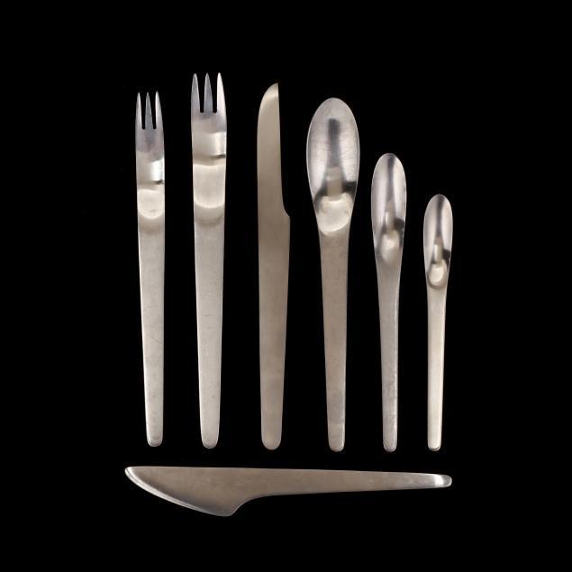 arne-jacobsen-denmark-1902-1971-50-pieces-of-modern-stainless-flatware