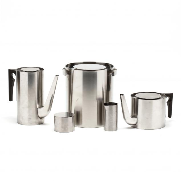 arne-jacobsen-denmark-1902-1971-cylinda-line-five-pieces-of-stainless-serving-ware