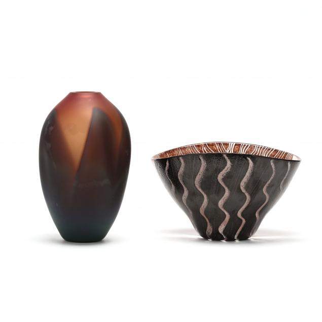 two-contemporary-art-glass-vessels