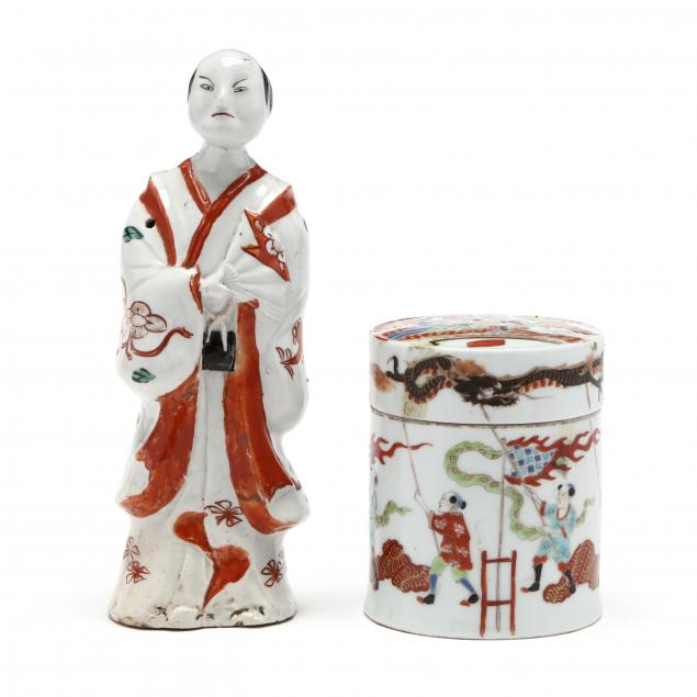 an-asian-porcelain-figure-and-covered-jar