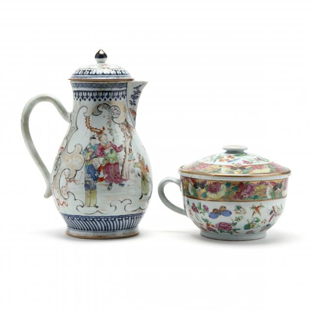 two-chinese-export-porcelains-cider-jug-and-cover-and-chamber-pot