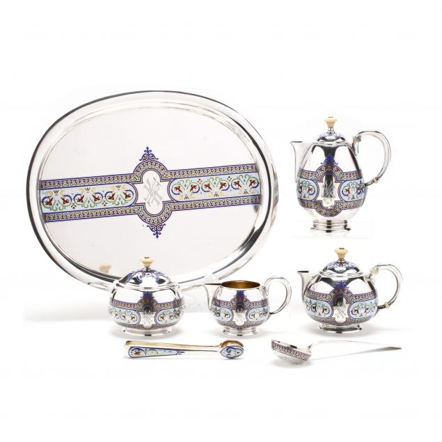 a-russian-silver-and-champleve-enamel-tea-service-mark-of-grachev