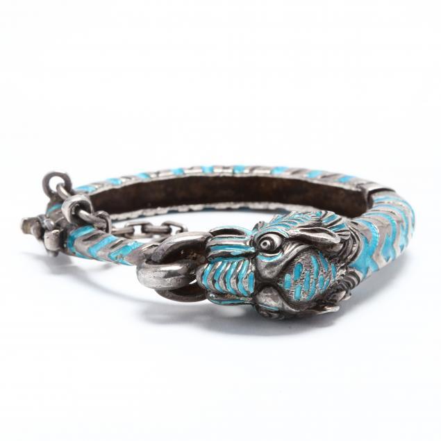 vintage-sterling-silver-and-enamel-dragon-bracelet
