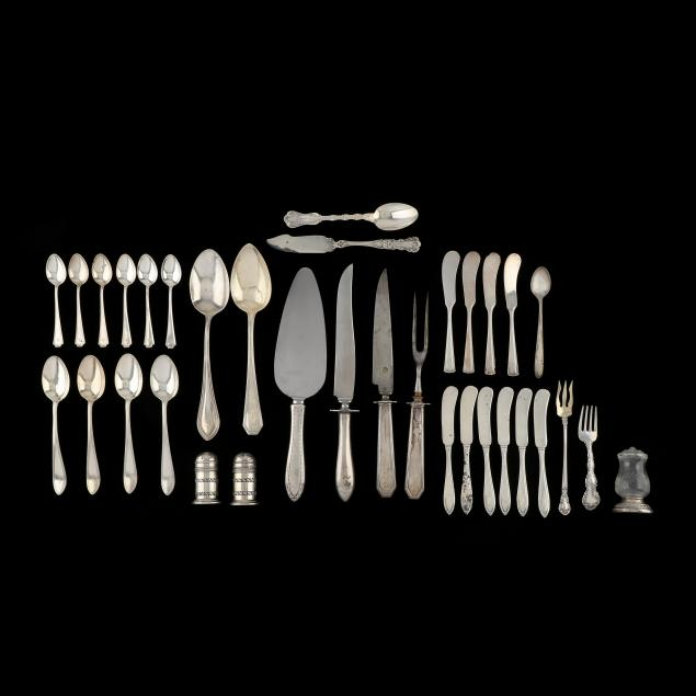 assorted-sterling-silver-flatware-and-shakers