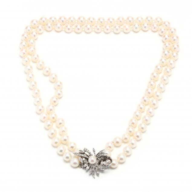 double-strand-pearl-necklace-with-14kt-white-gold-diamond-set-clasp