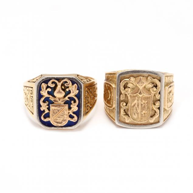 two-18kt-gold-family-crest-rings