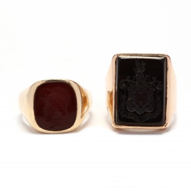 two-14kt-gold-and-gemstone-intaglio-rings