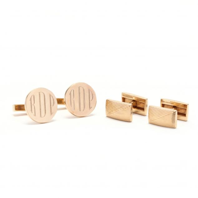 two-pairs-of-14kt-gold-cufflinks-tiffany-co