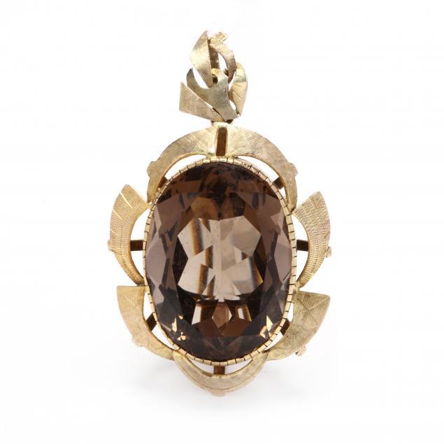 14kt-gold-smokey-quartz-pendant-brooch
