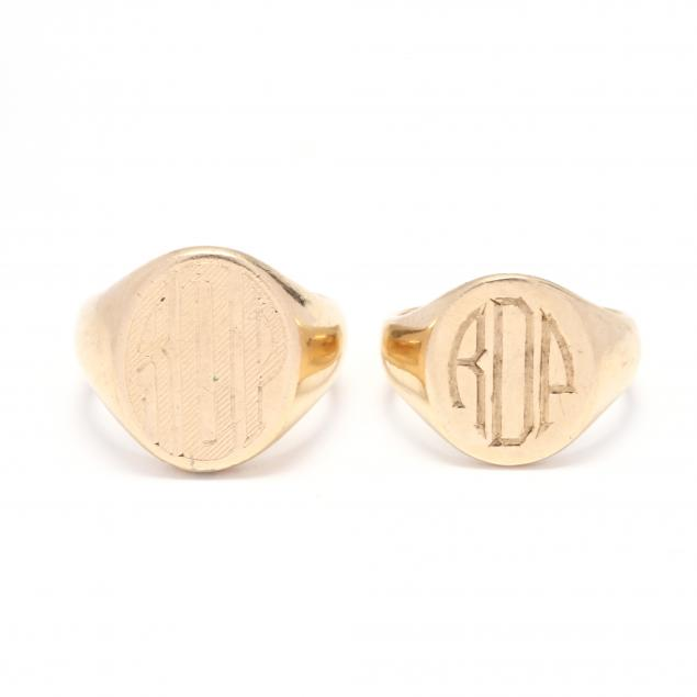 two-14kt-gold-signet-rings