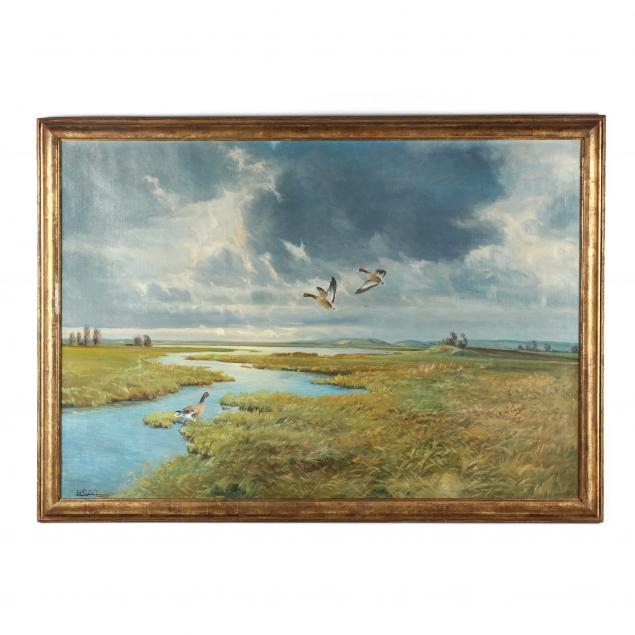 hans-c-michelsen-american-20th-century-marshland-scene-with-geese-in-flight