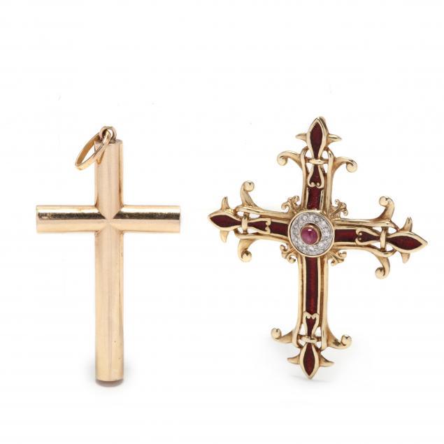 two-gold-cross-pendants