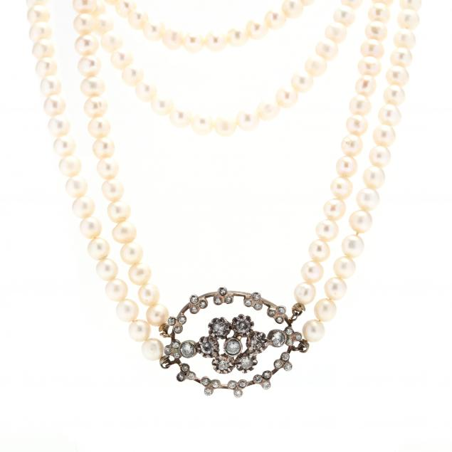 double-strand-pearl-necklace-with-vintage-gold-and-diamond-clasp