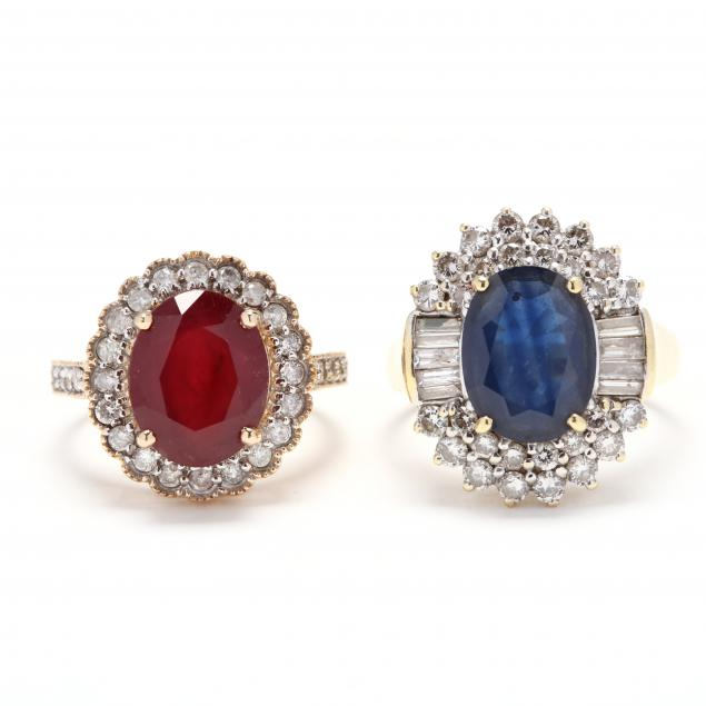 two-gold-gemstone-and-diamond-rings