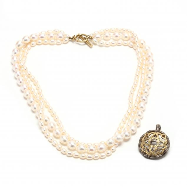 multi-srand-pearl-necklace-and-an-18kt-and-silver-pendant-enhancer-slane