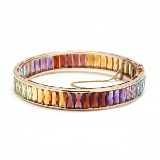 14kt-gold-and-gem-set-bangle-bracelet