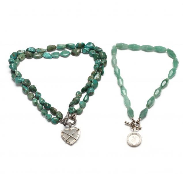two-sterling-silver-and-gem-set-necklaces-slane