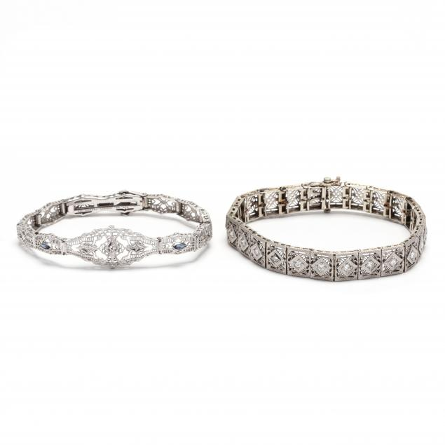 two-14kt-white-gold-and-diamond-bracelets