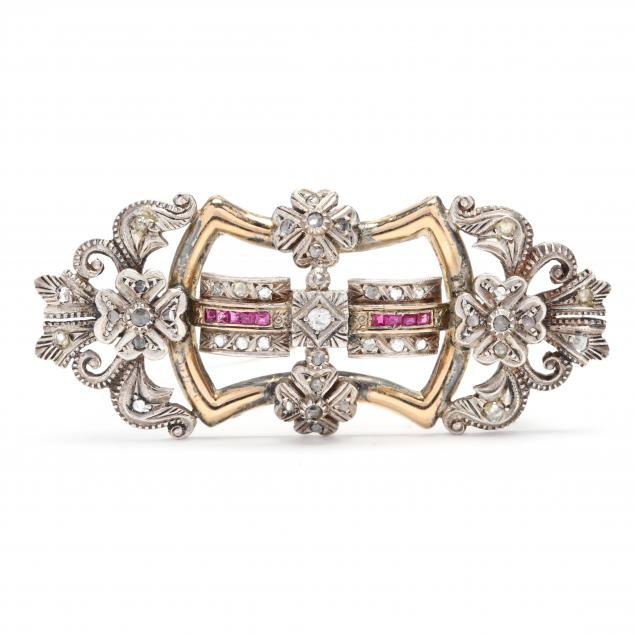 antique-gold-silver-diamond-and-ruby-brooch