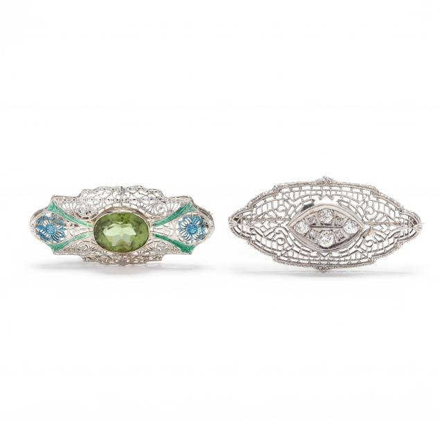 two-14kt-white-gold-and-gem-set-brooches