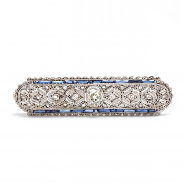 antique-platinum-gold-diamond-and-synthetic-sapphire-brooch