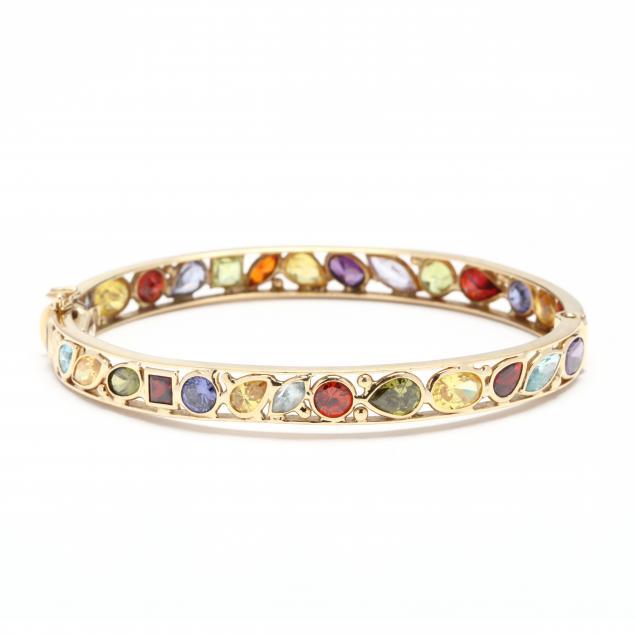 18kt-gold-and-gem-set-bangle-bracelet-signed