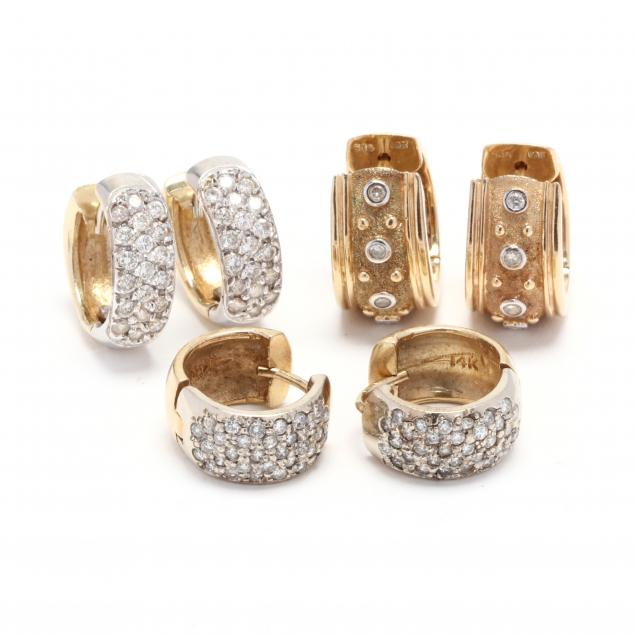 three-pairs-of-gold-and-diamond-hoop-earrings