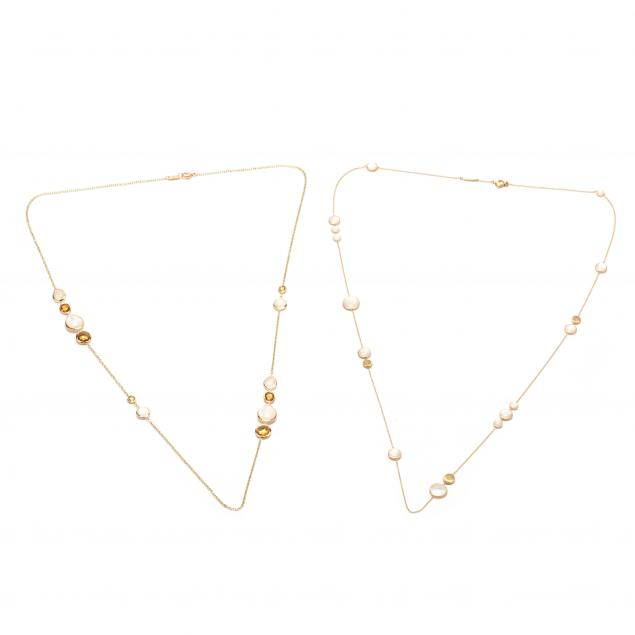 two-18kt-gem-set-station-necklaces-marco-bicego-and-ippolita