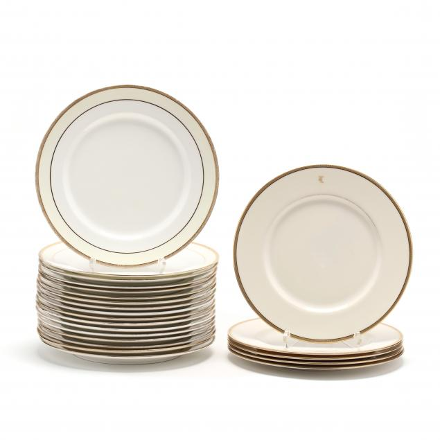 tiffany-co-assembled-set-of-22-lenox-gold-rimmed-porcelain-plates