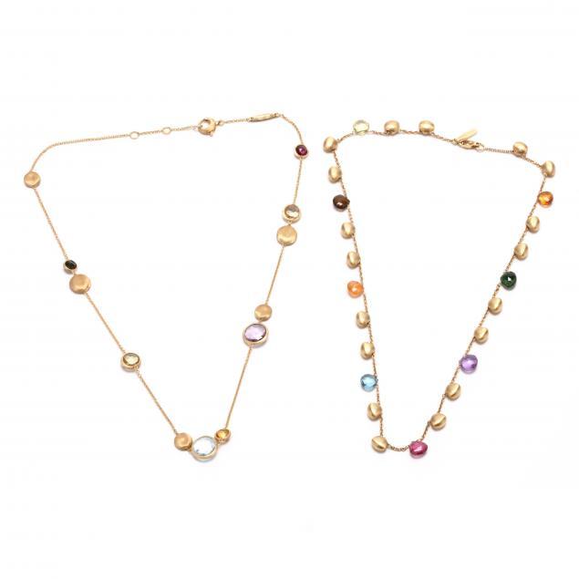 two-18kt-gold-and-gem-set-station-necklaces-marco-bicego