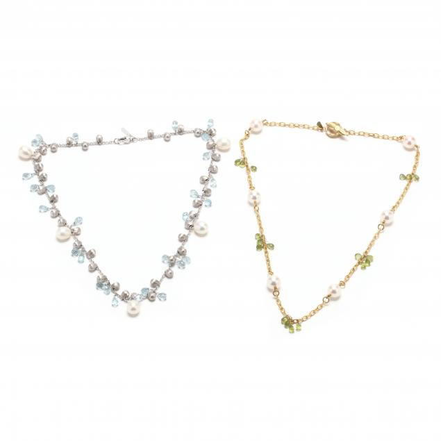 two-18kt-gold-pearl-and-gem-set-station-necklaces-signed