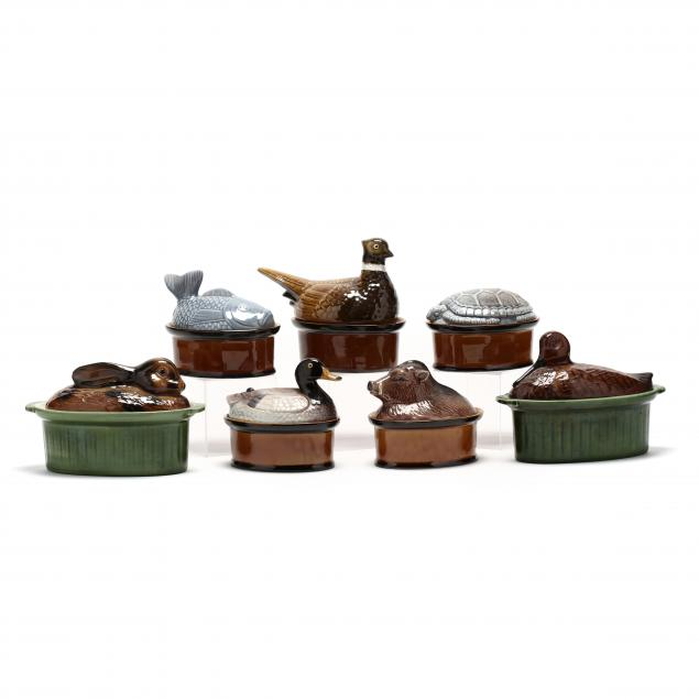 seven-majolica-figural-lidded-dishes