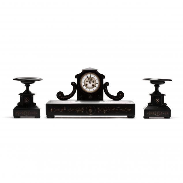 antique-french-slate-three-piece-mantel-clock-set