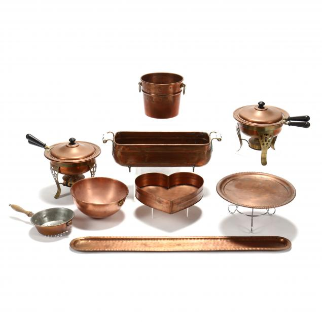 an-assembled-grouping-of-vintage-copper-cookware-and-accessories