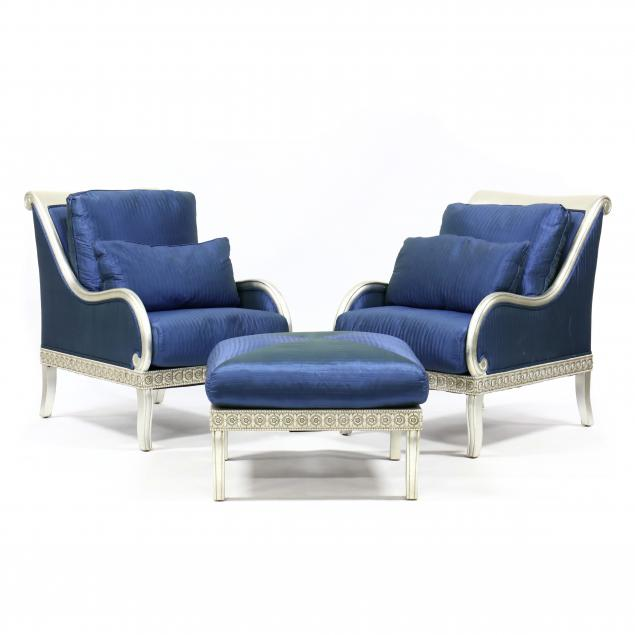 henredon-pair-of-silvered-grecian-style-club-chairs-and-ottoman