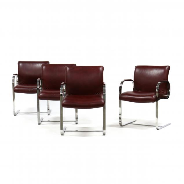 set-of-four-steel-and-leather-armchairs