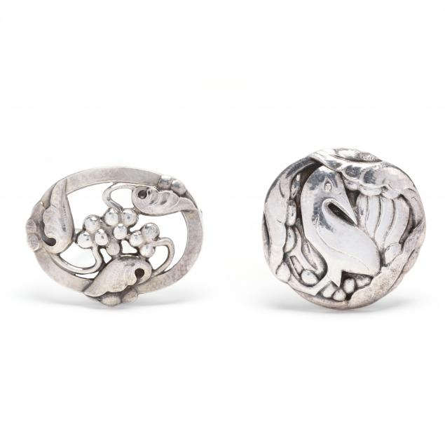 two-silver-brooches-georg-jensen