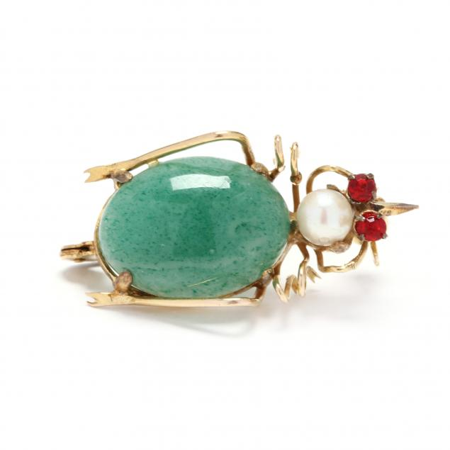 14kt-gold-and-gem-set-insect-brooch