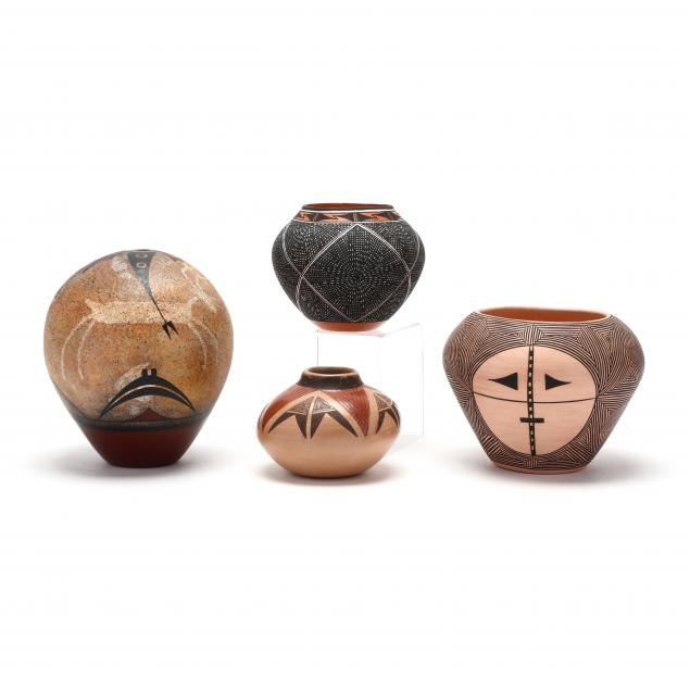 four-native-american-redware-vessels