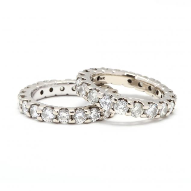 pair-of-14kt-white-gold-and-diamond-eternity-bands